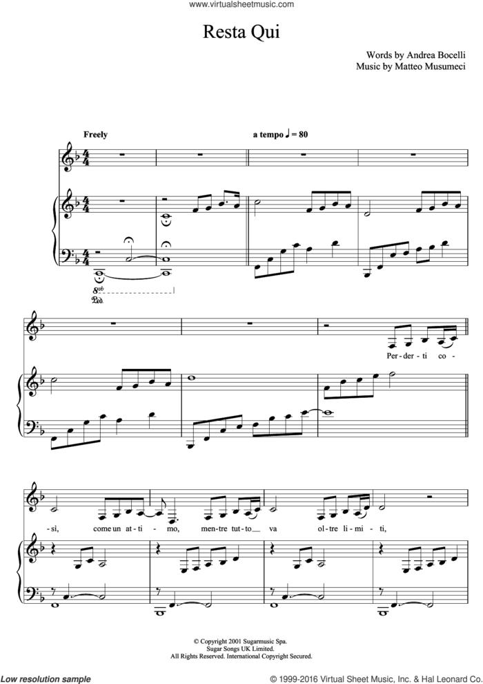 Resta Qui sheet music for voice, piano or guitar by Andrea Bocelli and Matteo Musumeci, classical score, intermediate skill level