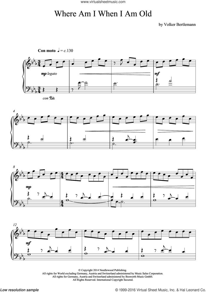 Where Am I When I Am Old sheet music for piano solo by Hauschka, classical score, intermediate skill level