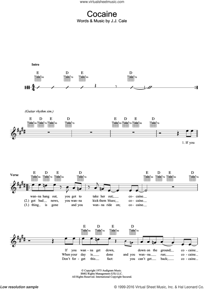 Cocaine sheet music for voice and other instruments (fake book) by Eric Clapton and John Cale, intermediate skill level