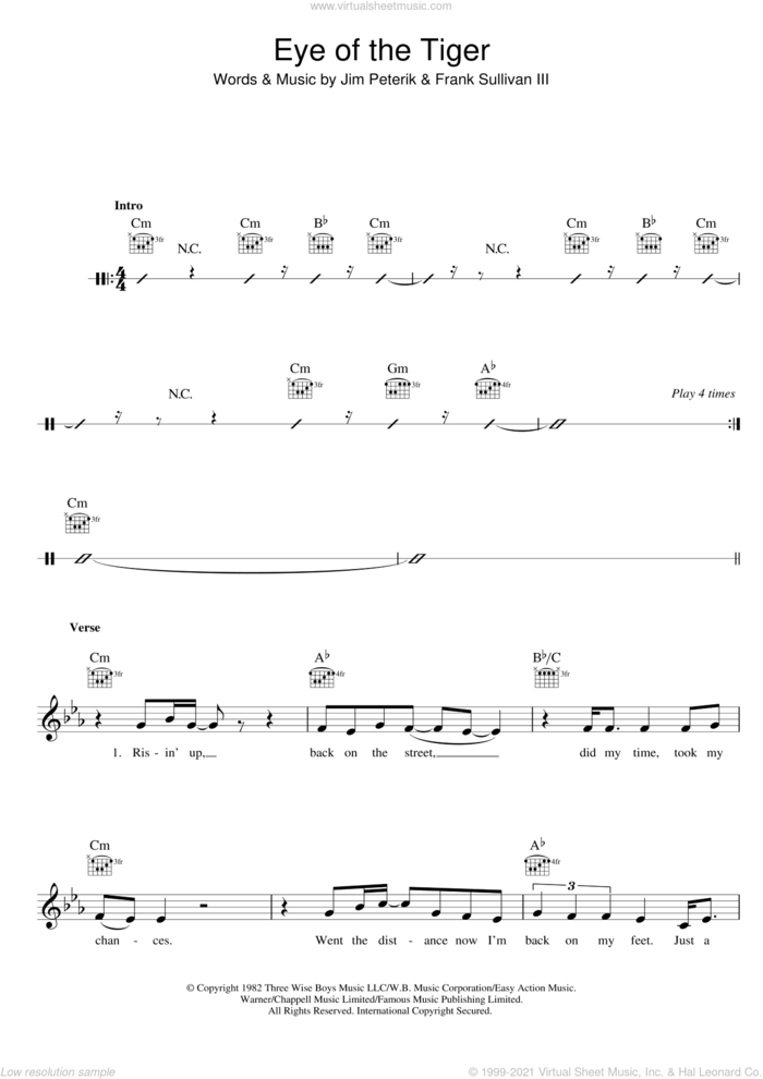 Eye Of The Tiger sheet music for voice and other instruments (fake book) by Survivor, Frank Sullivan and Jim Peterik, intermediate skill level