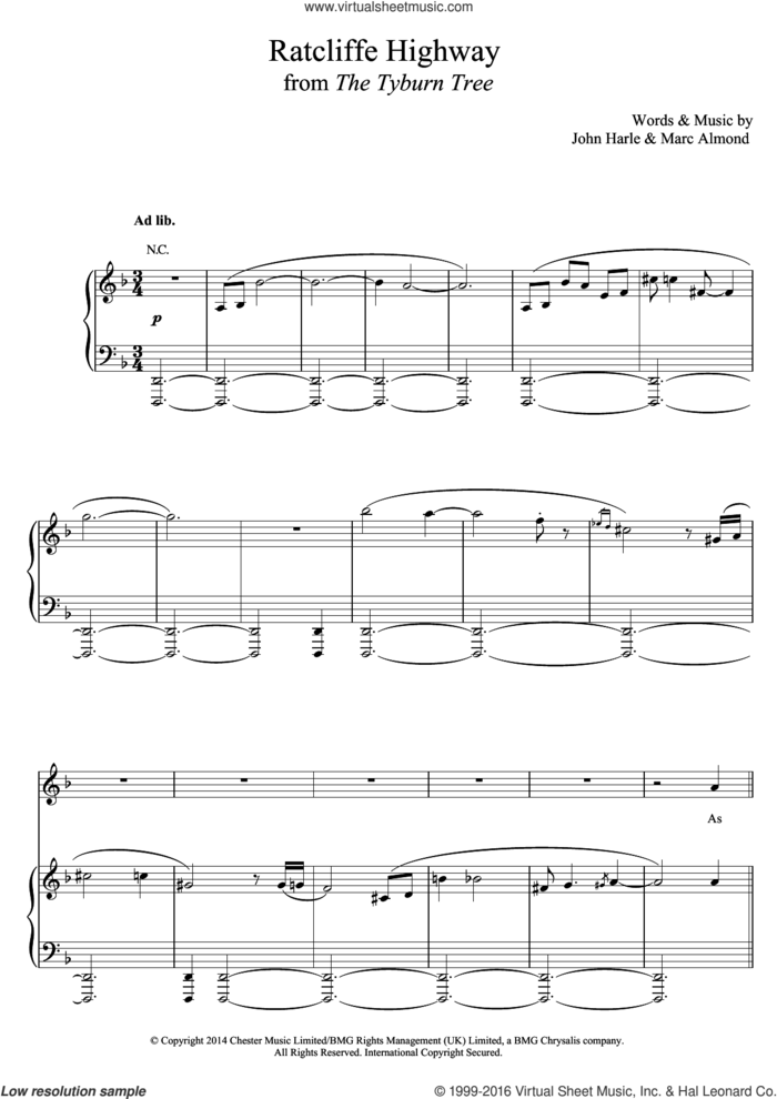 Ratcliffe Highway sheet music for voice, piano or guitar by John Harle & Marc Almond, John Harle and Marc Almond, classical score, intermediate skill level