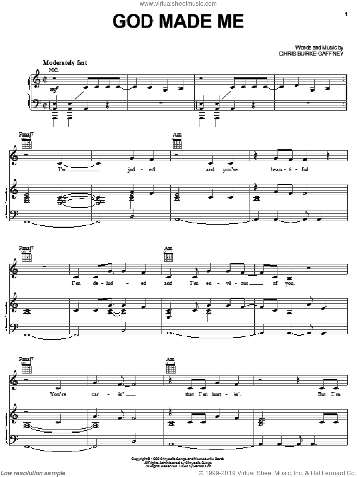 God Made Me sheet music for voice, piano or guitar by Chantal Kreviazuk and Chris Burke-Gaffney, intermediate skill level