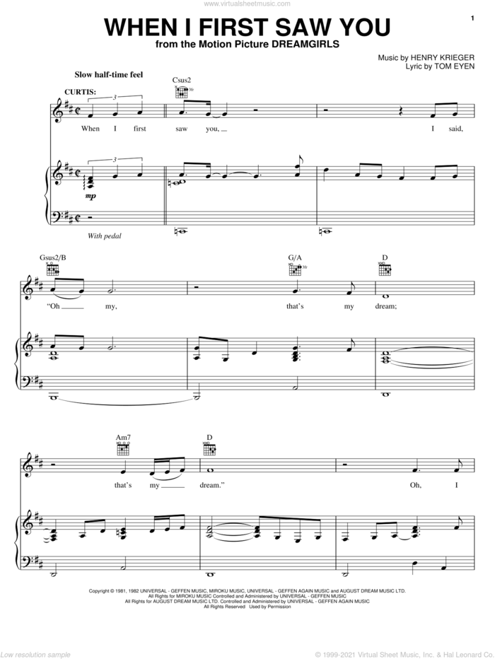 When I First Saw You sheet music for voice, piano or guitar by Jamie Foxx, Dreamgirls (Movie), Henry Krieger and Tom Eyen, intermediate skill level