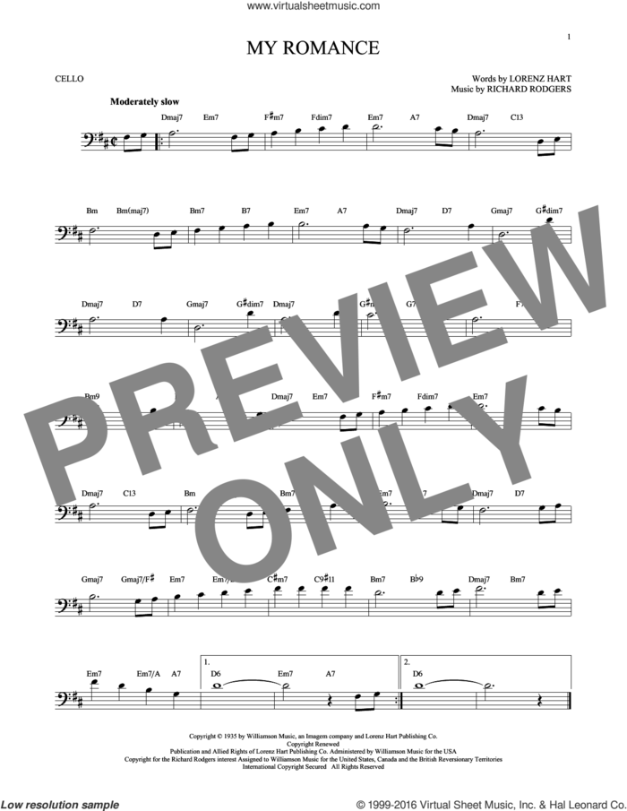 My Romance sheet music for cello solo by Rodgers & Hart, Lorenz Hart and Richard Rodgers, intermediate skill level