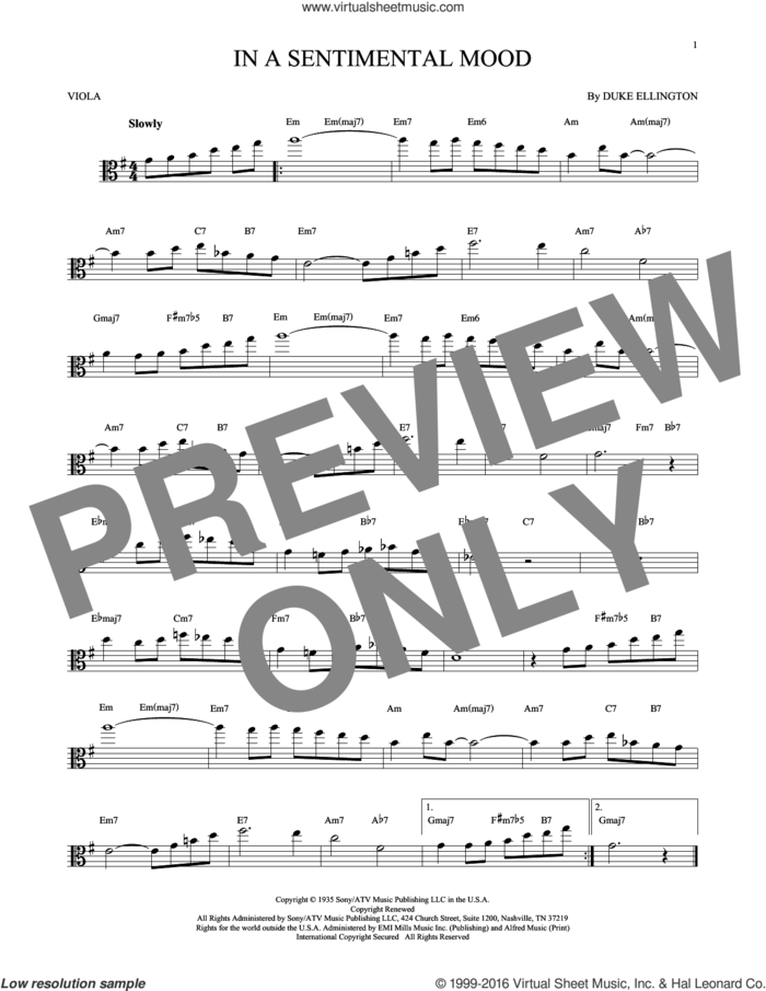 In A Sentimental Mood sheet music for viola solo by Duke Ellington, Irving Mills and Manny Kurtz, intermediate skill level