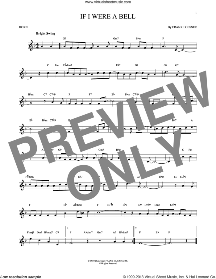 If I Were A Bell sheet music for horn solo by Frank Loesser, intermediate skill level