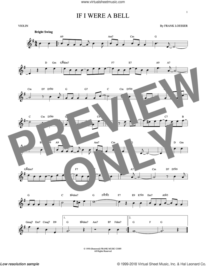 If I Were A Bell sheet music for violin solo by Frank Loesser, intermediate skill level