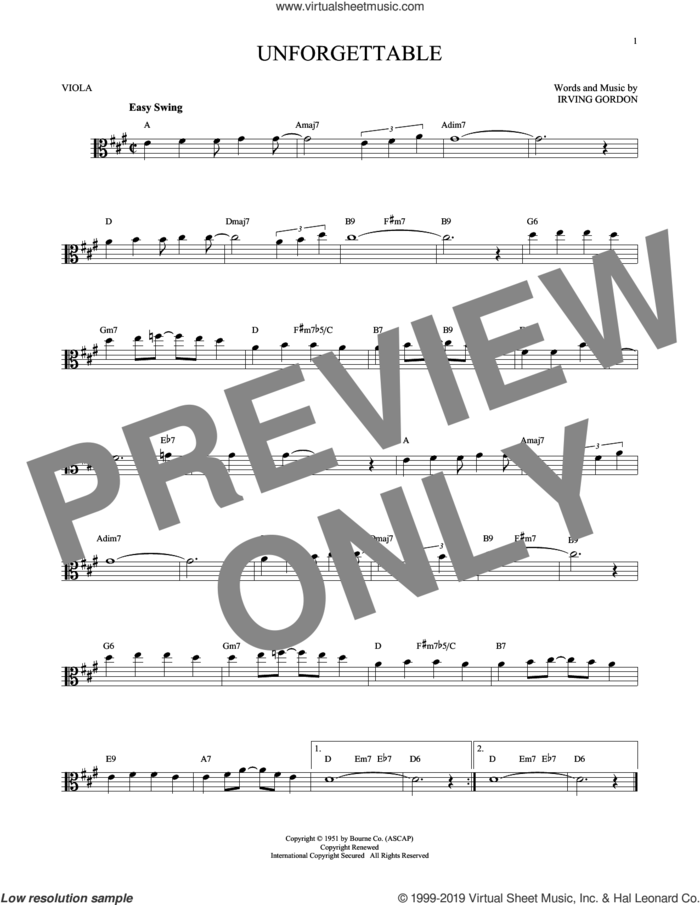 Unforgettable sheet music for viola solo by Irving Gordon, Dinah Washington, Nat King Cole and Natalie Cole, intermediate skill level