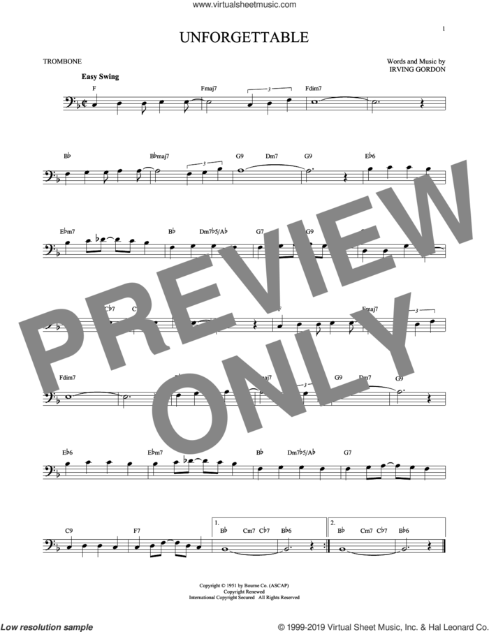 Unforgettable sheet music for trombone solo by Irving Gordon, Dinah Washington, Nat King Cole and Natalie Cole, intermediate skill level