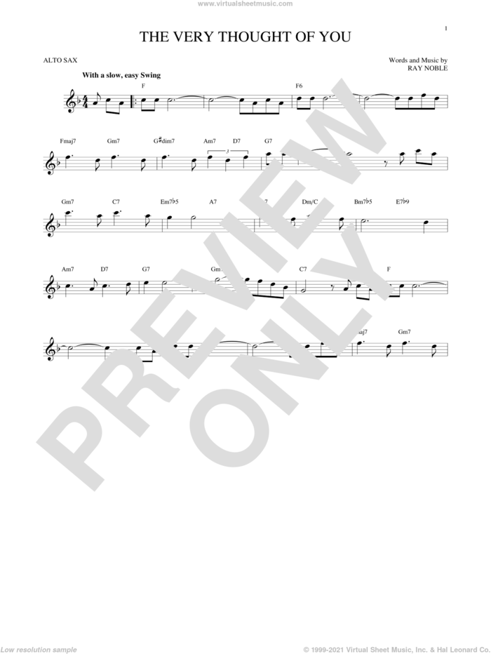 The Very Thought Of You sheet music for alto saxophone solo by Ray Noble, intermediate skill level