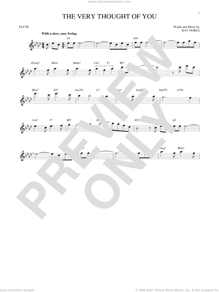 The Very Thought Of You sheet music for flute solo by Ray Noble, intermediate skill level