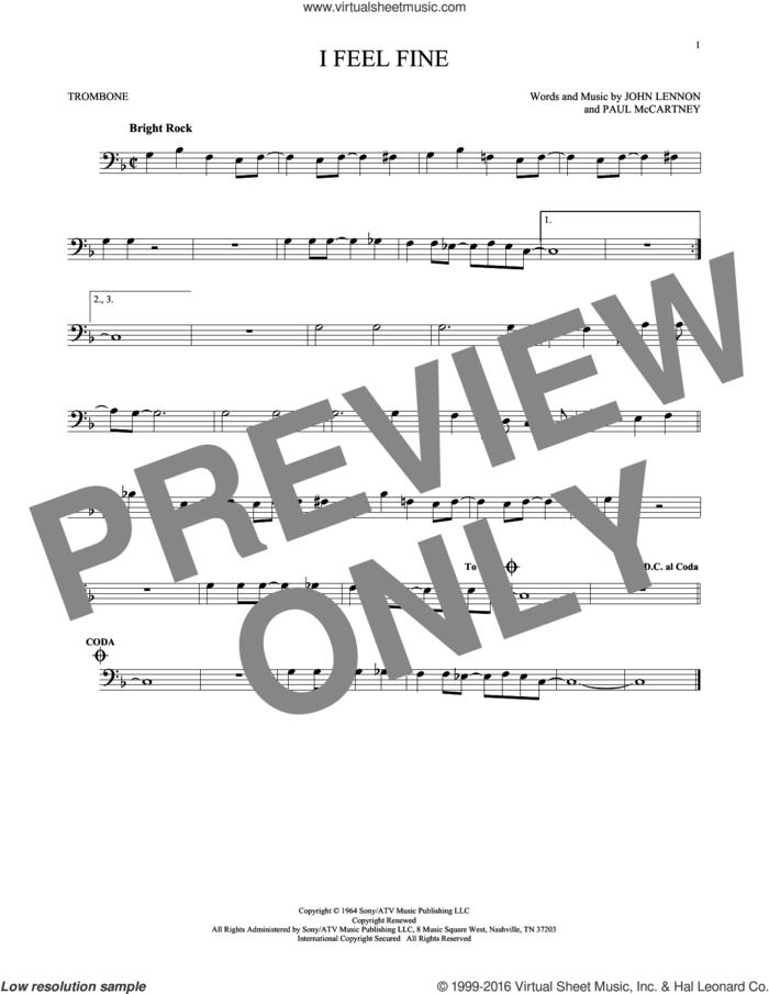 I Feel Fine sheet music for trombone solo by The Beatles, John Lennon and Paul McCartney, intermediate skill level