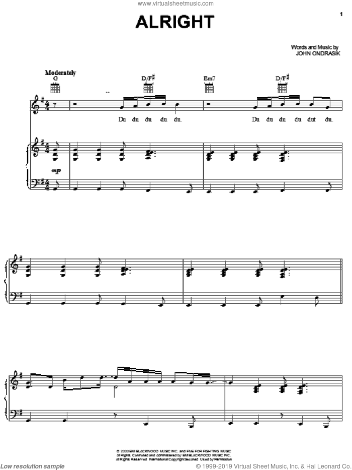 Alright sheet music for voice, piano or guitar by Five For Fighting and John Ondrasik, intermediate skill level