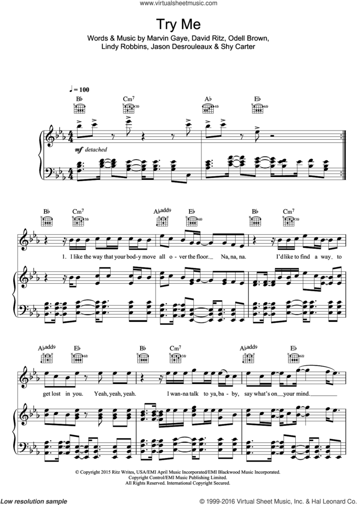 Try Me (featuring Jenifer Lopez) sheet music for voice, piano or guitar by Jason Derulo, Jennifer Lopez, David Ritz, Jason Desrouleaux, Lindy Robbins, Marvin Gaye, Odell Brown and Shy Carter, intermediate skill level