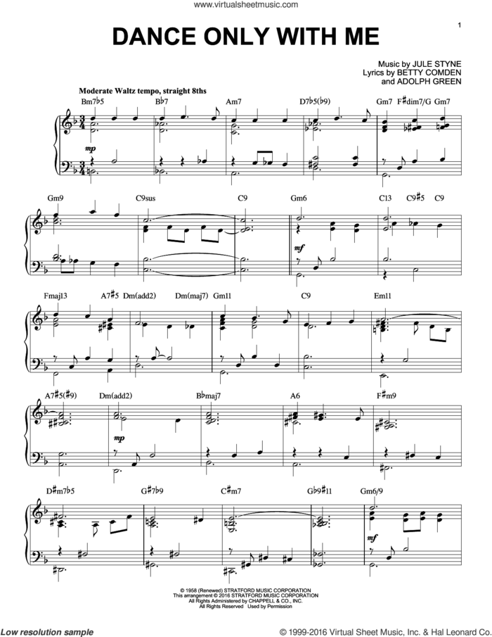 Dance Only With Me [Jazz version] (arr. Brent Edstrom) sheet music for piano solo by Perry Como, Adolph Green, Betty Comden and Jule Styne, intermediate skill level