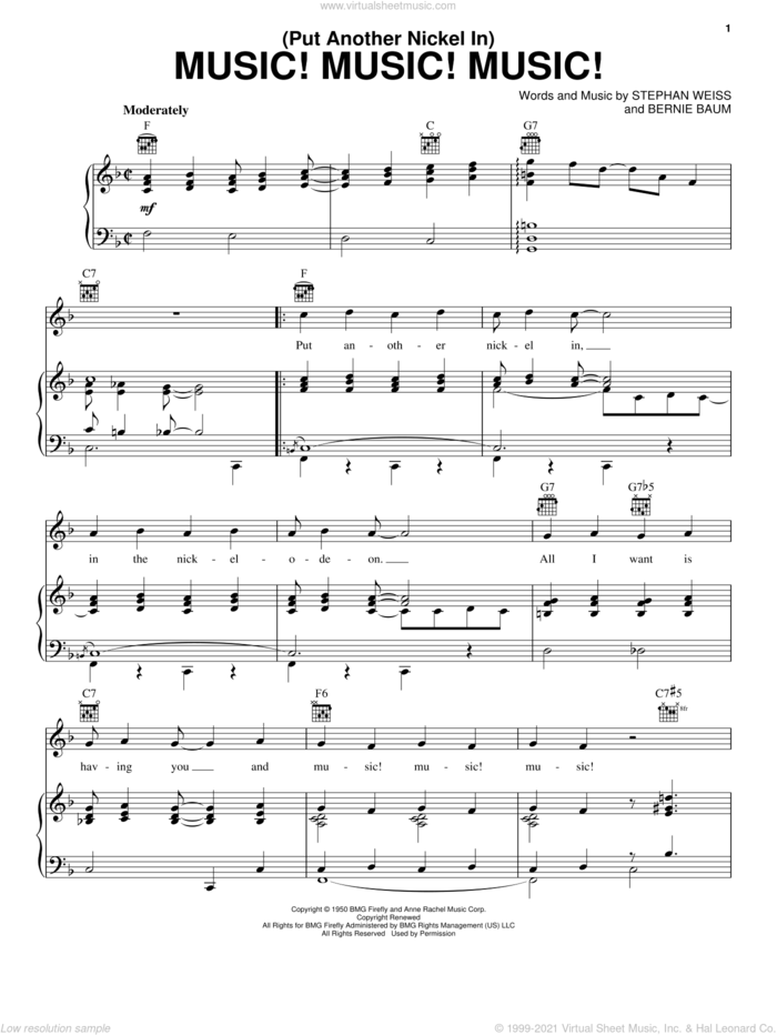 (Put Another Nickel In) Music! Music! Music! sheet music for voice, piano or guitar by Teresa Brewer, Bernie Baum and Stephen Weiss, intermediate skill level