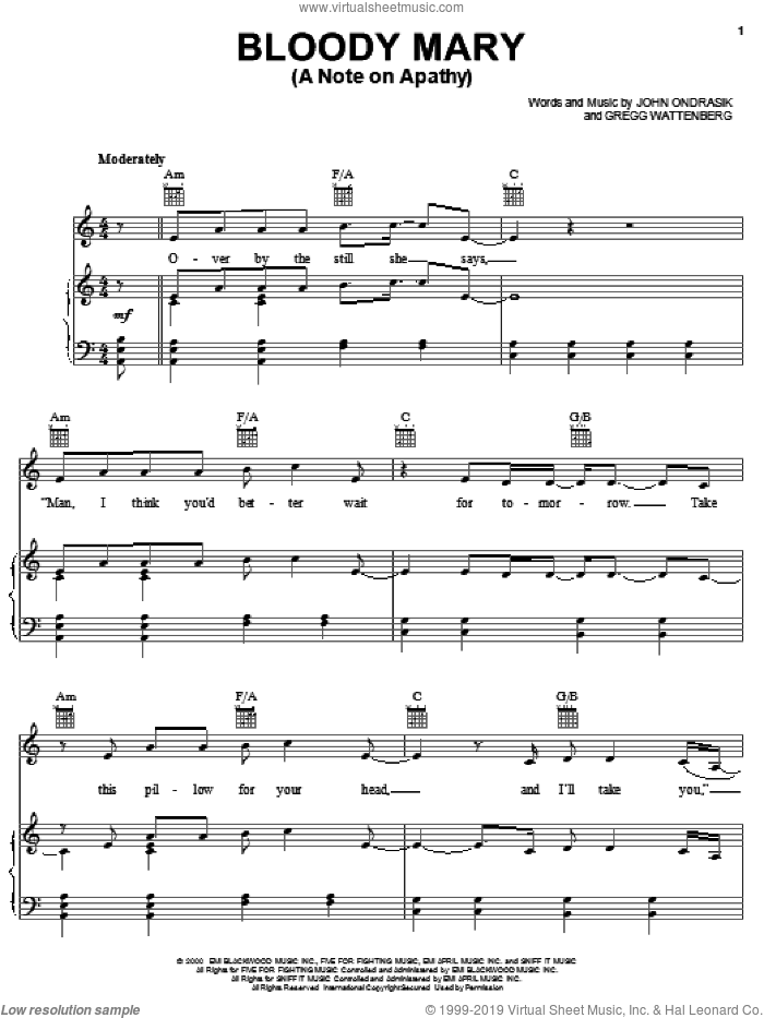 Bloody Mary (A Note On Apathy) sheet music for voice, piano or guitar by Five For Fighting, Gregg Wattenberg and John Ondrasik, intermediate skill level