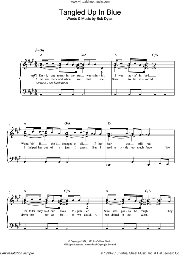 Tangled Up In Blue sheet music for voice and piano by Bob Dylan, intermediate skill level