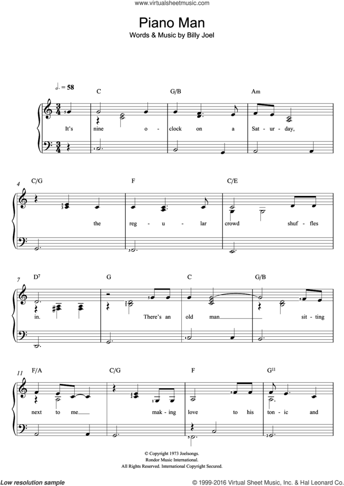 Piano Man sheet music for voice and piano by Billy Joel, intermediate skill level