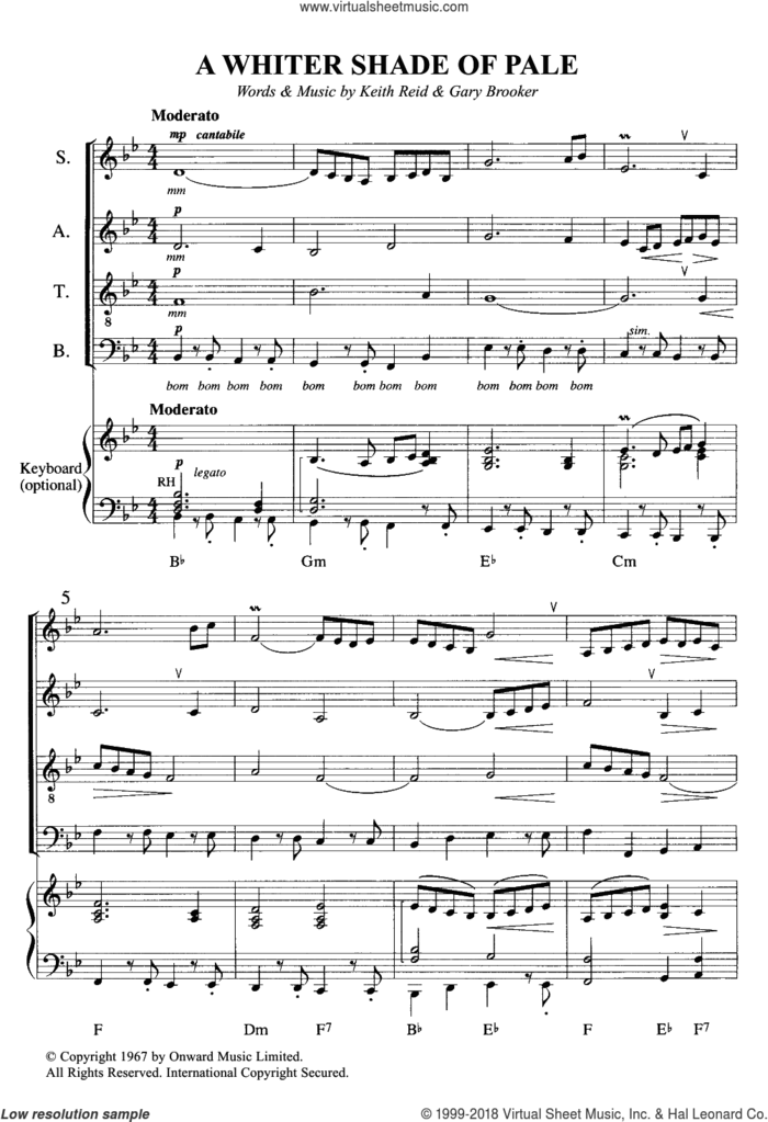 A Whiter Shade Of Pale sheet music for choir by Procol Harum, Annie Lennox, Gary Brooker, Keith Reid and Matthew Fisher, intermediate skill level