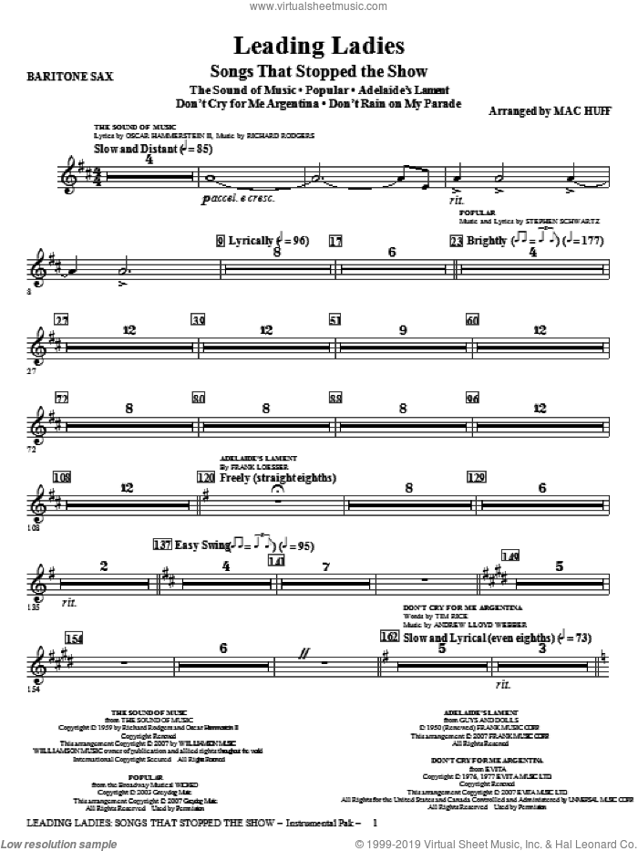 Leading Ladies: Songs That Stopped the Show sheet music for orchestra/band (baritone sax) by Mac Huff, intermediate skill level