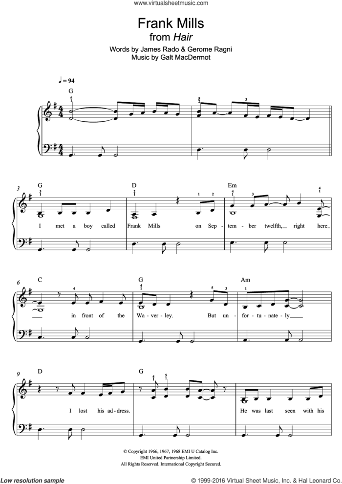 Frank Mills (from 'Hair') sheet music for piano solo by Galt MacDermot, Gerome Ragni and James Rado, easy skill level