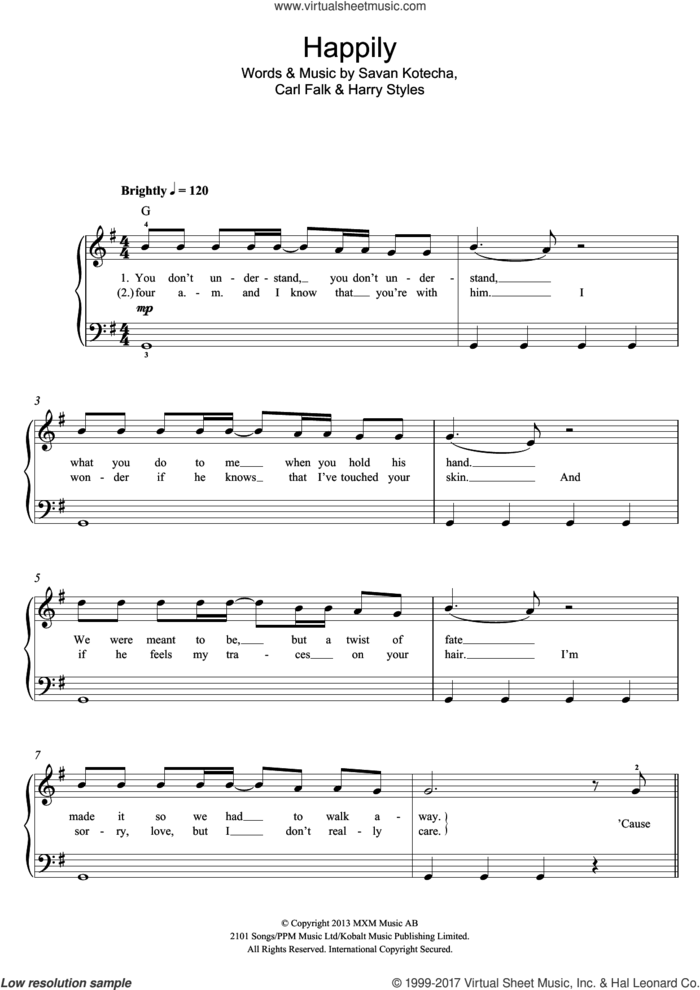 Happily sheet music for voice, piano or guitar by One Direction, Carl Falk, Harry Styles and Savan Kotecha, intermediate skill level