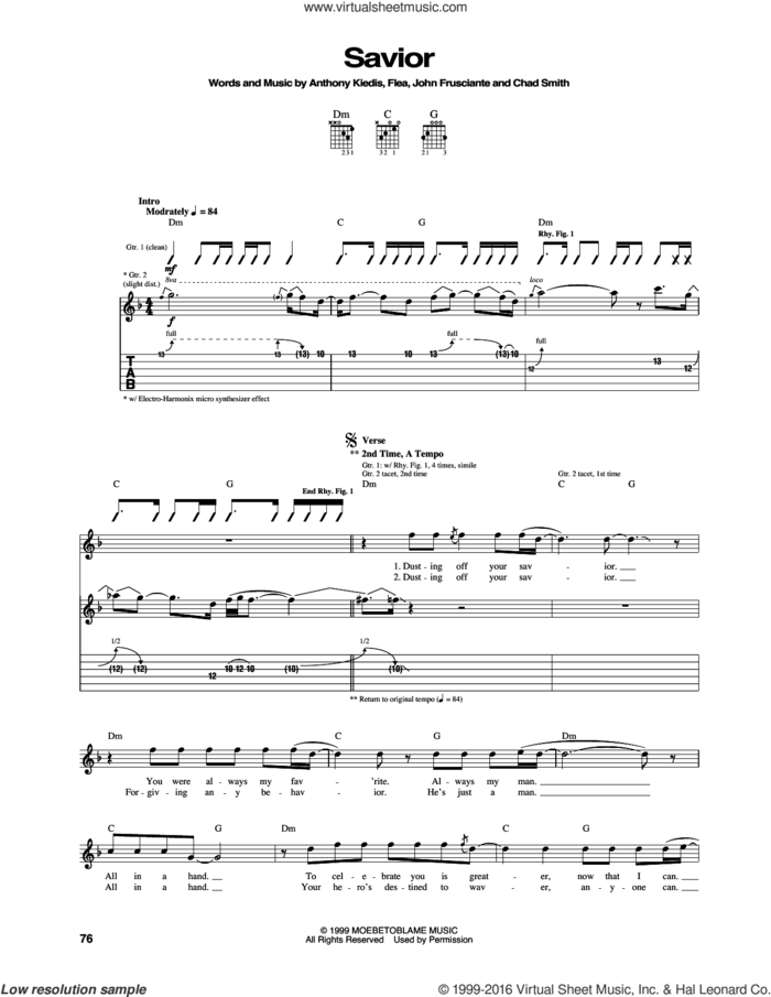 Savior sheet music for guitar (tablature) by Red Hot Chili Peppers, Anthony Kiedis, Chad Smith, Flea and John Frusciante, intermediate skill level