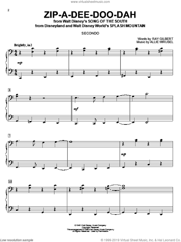 Zip-A-Dee-Doo-Dah sheet music for piano four hands by Ray Gilbert and Allie Wrubel, intermediate skill level
