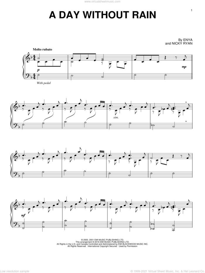A Day Without Rain sheet music for piano solo by Enya and Nicky Ryan, intermediate skill level