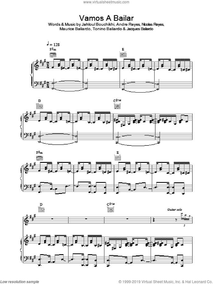 Vamos A Bailar sheet music for voice, piano or guitar by The Gipsy Kings, Andre Reyes, Jacques Baliardo, Jahloul Bouchikhi, Maurice Baliardo, Nicolas Reyes and Tonino Baliardo, intermediate skill level