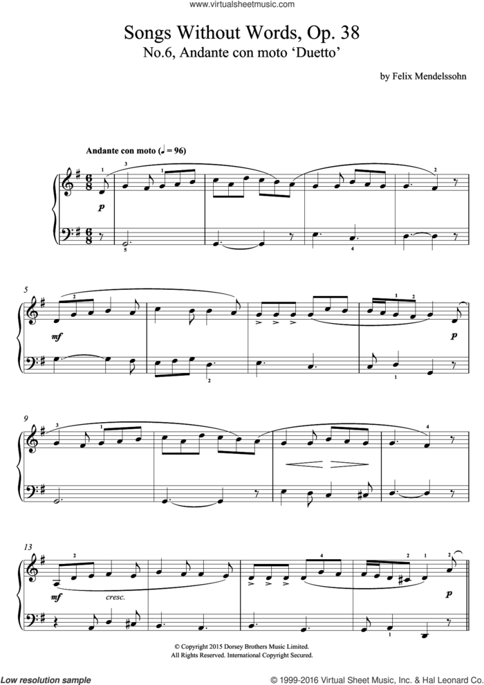 Song Without Words, Op. 38, No. 6 'Duetto' sheet music for voice, piano or guitar by Felix Mendelssohn-Bartholdy, classical score, intermediate skill level