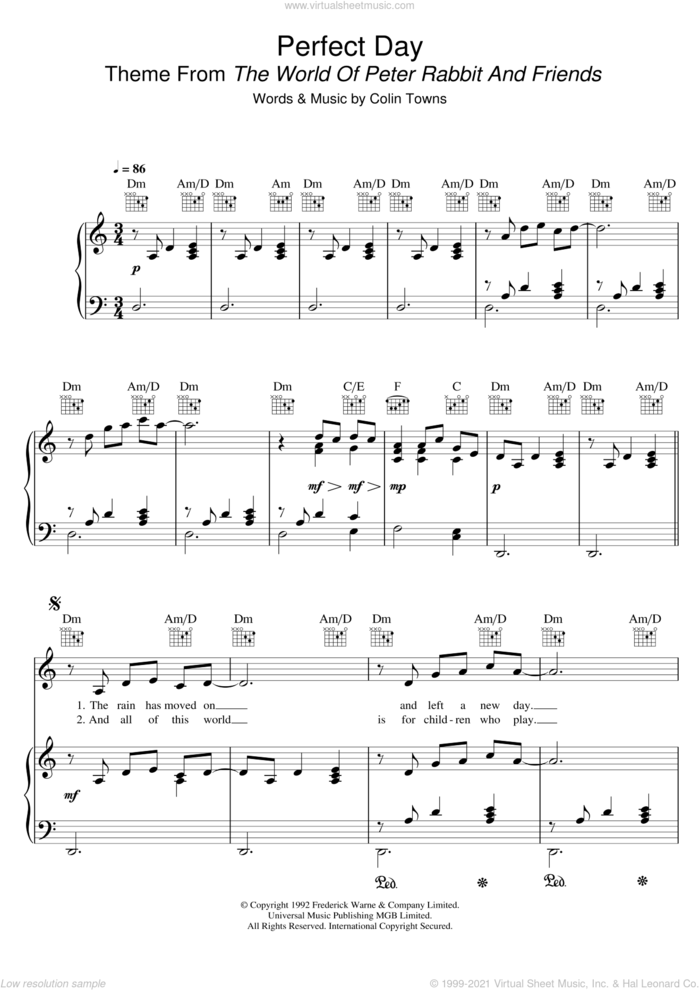 Perfect Day (Theme From 'The World Of Peter Rabbit And Friends') sheet music for voice, piano or guitar by Colin Towns, intermediate skill level