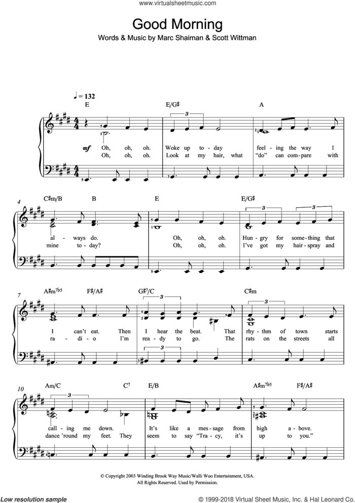 Good Morning Baltimore (from Hairspray) sheet music for piano solo by Marc Shaiman and Scott Wittman, easy skill level