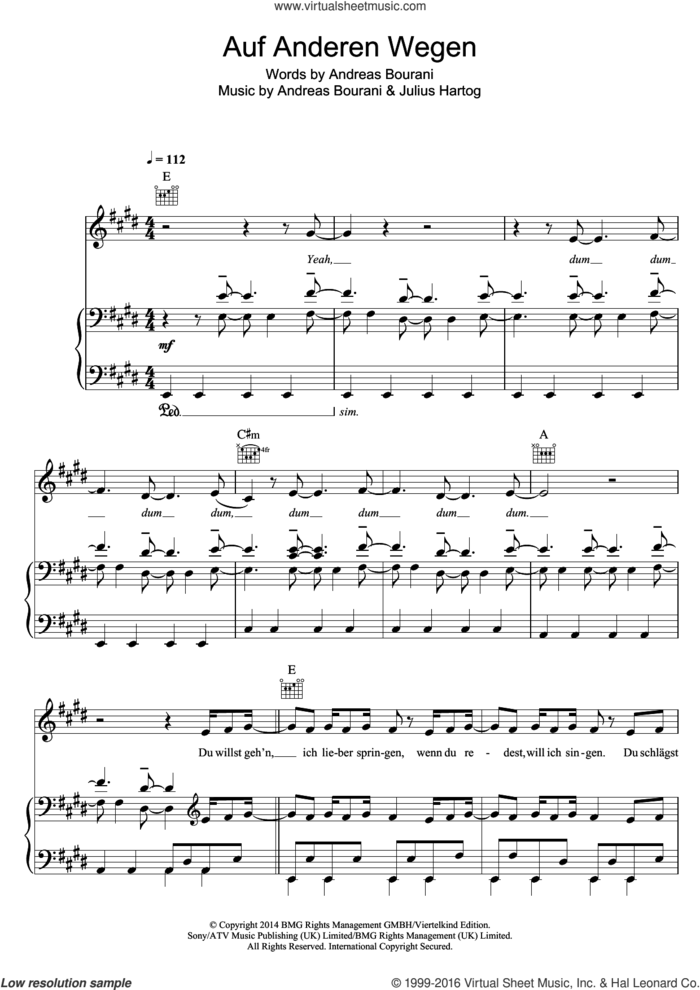 Auf Anderen Wegen sheet music for voice, piano or guitar by Andreas Bourani and Julius Hartog, intermediate skill level