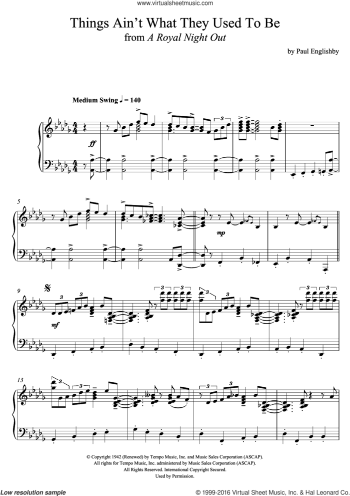 Things Ain't What They Used To Be sheet music for piano solo by Paul Englishby and Mercer Ellington, intermediate skill level