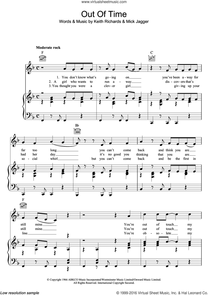 Out Of Time sheet music for voice, piano or guitar by The Rolling Stones, Chris Farlowe, Keith Richards and Mick Jagger, intermediate skill level