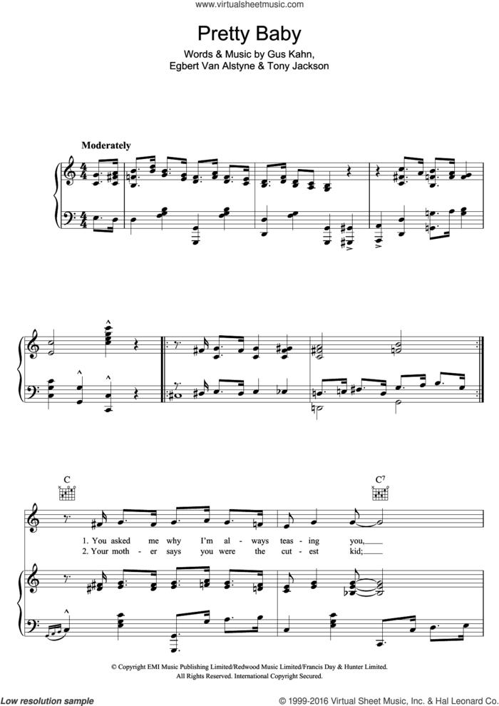 Pretty Baby sheet music for voice, piano or guitar by Al Jolson, Egbert Van Alstyne, Gus Kahn and Tony Jackson, intermediate skill level