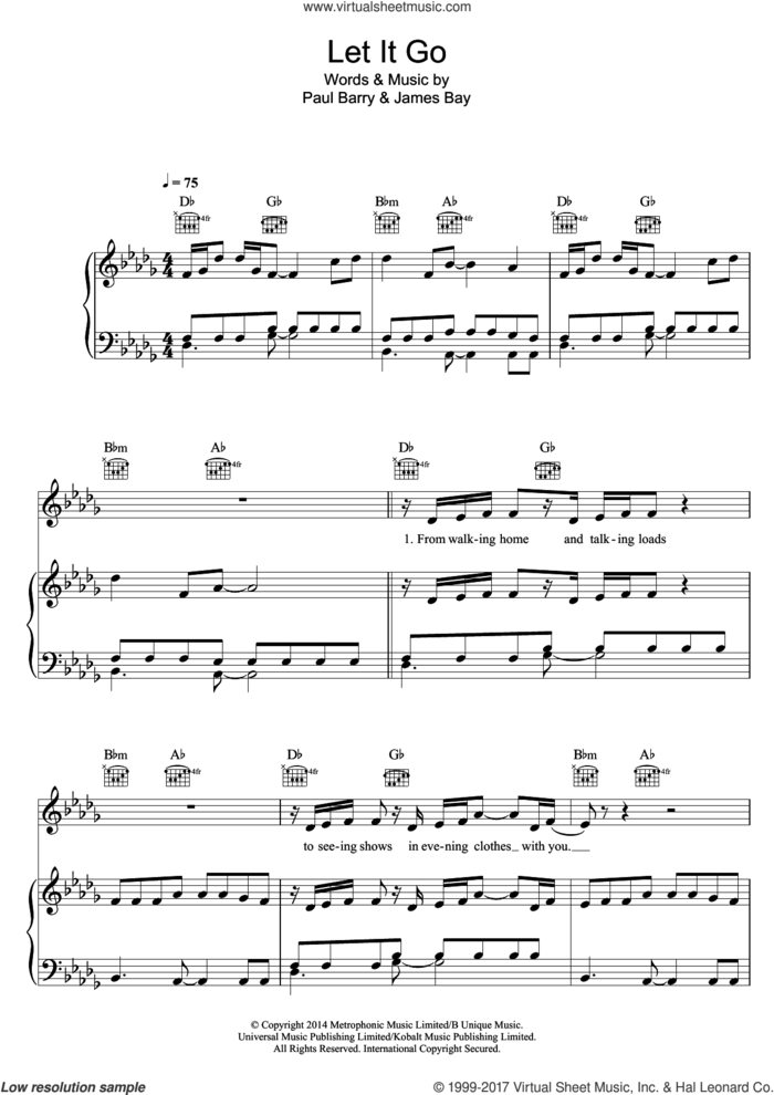 Let It Go sheet music for voice, piano or guitar by James Bay and Paul Barry, intermediate skill level