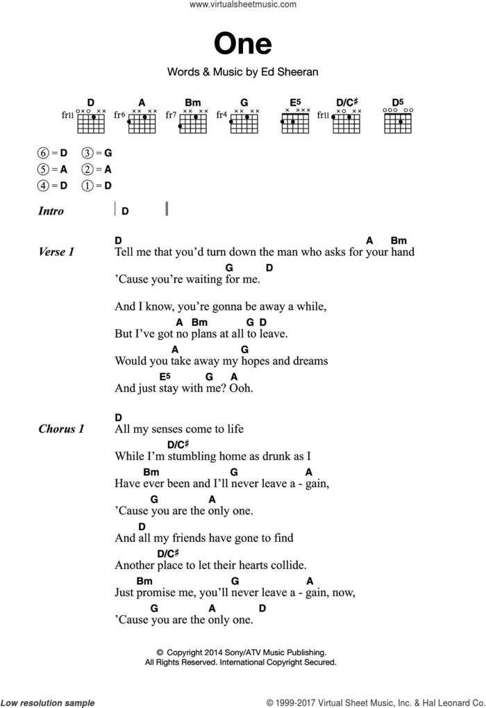 One sheet music for guitar (chords) by Ed Sheeran, intermediate skill level