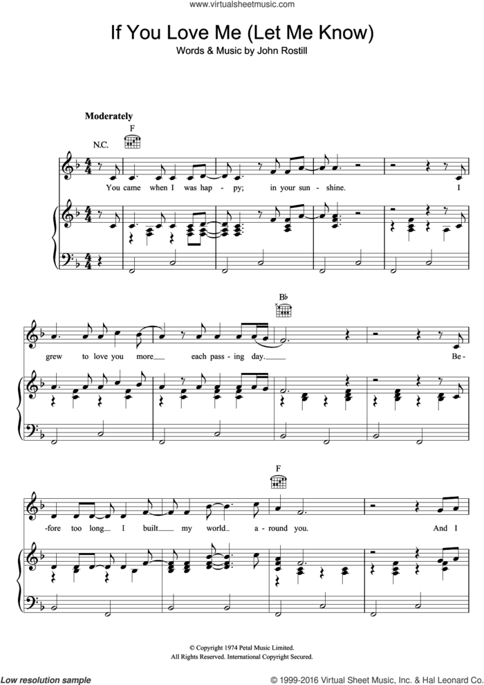 If You Love Me (Let Me Know) sheet music for voice, piano or guitar by Elvis Presley and John Rostill, intermediate skill level