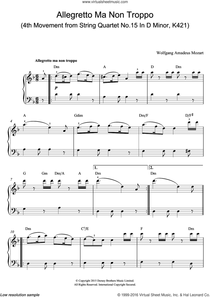 Allegretto Ma Non Troppo (4th Movement from String Quartet No.15 In D Minor, K421) sheet music for voice, piano or guitar by Wolfgang Amadeus Mozart, classical score, intermediate skill level