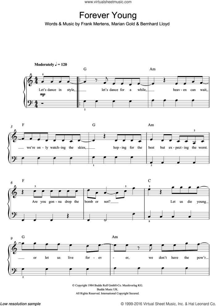 Forever Young sheet music for voice, piano or guitar by One Direction, Alphaville, Bernhard Lloyd, Frank Mertens and Marian Gold, intermediate skill level
