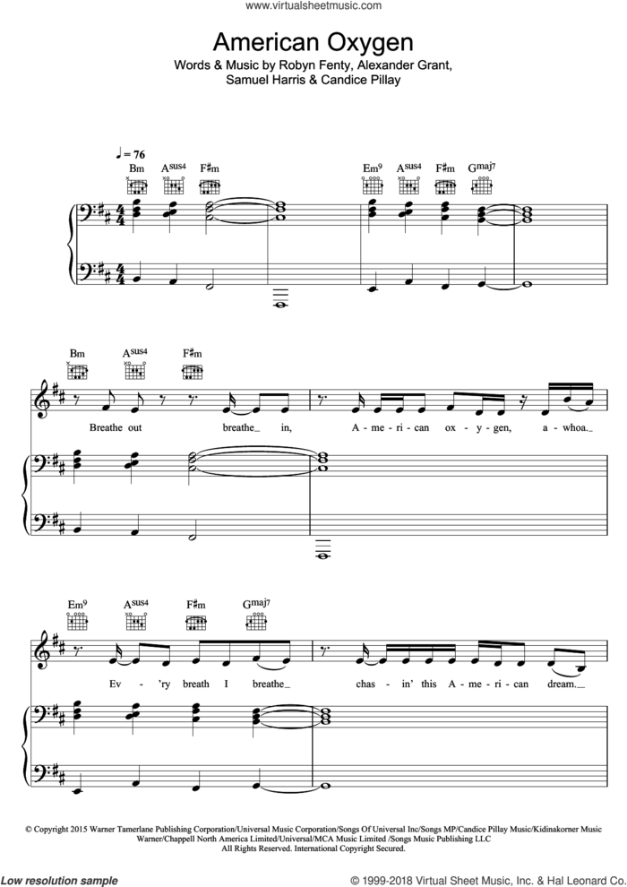 American Oxygen sheet music for voice, piano or guitar by Rihanna, Alexander Grant, Candice Pillay, Robyn Fenty and Samuel Harris, intermediate skill level