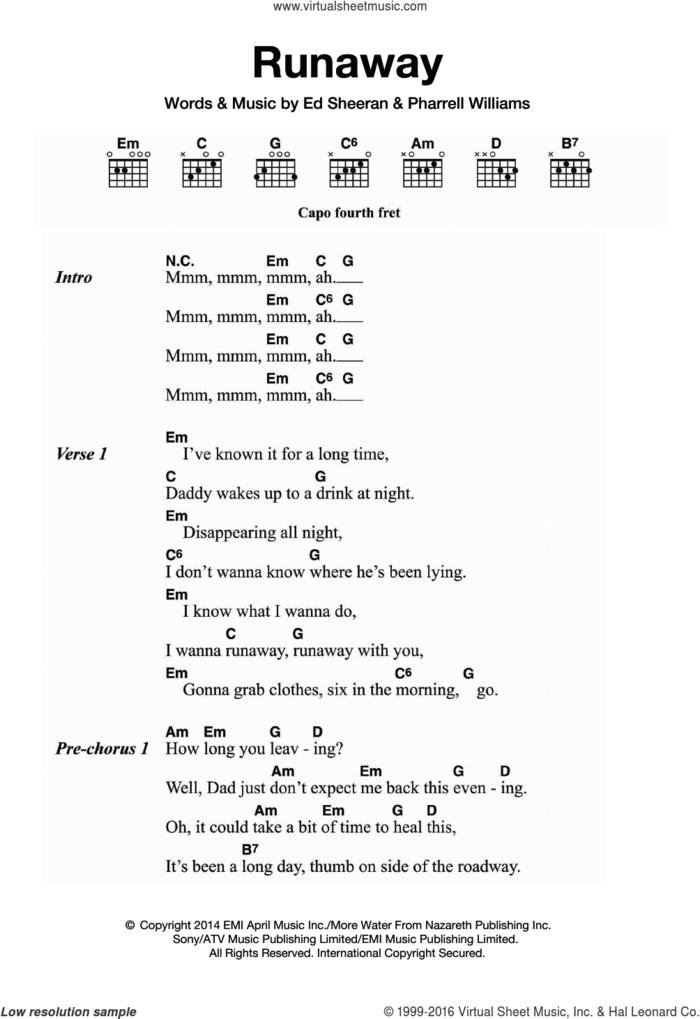 Runaway sheet music for guitar (chords) by Ed Sheeran and Pharrell Williams, intermediate skill level