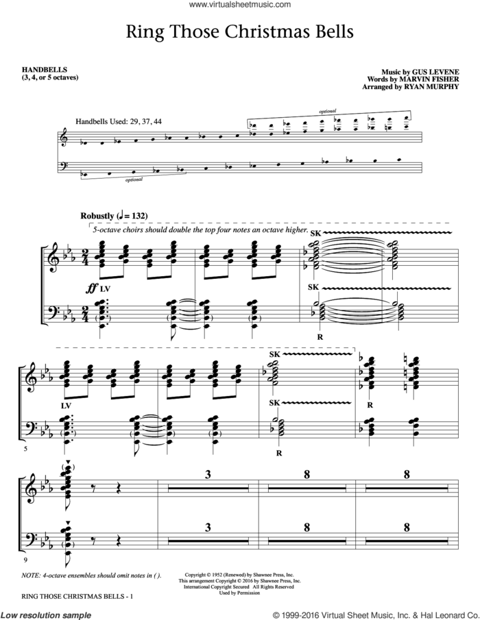 Ring Those Christmas Bells sheet music for orchestra/band (handbells) by Marvin Fisher, Ryan Murphy, Mormon Tabernacle Choir, Peggy Lee and Gus Levene, intermediate skill level