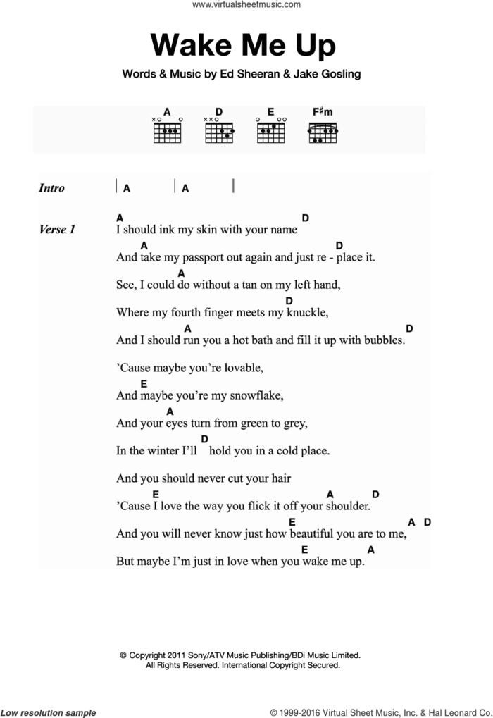 Wake Me Up sheet music for guitar (chords) by Ed Sheeran and Jake Gosling, intermediate skill level