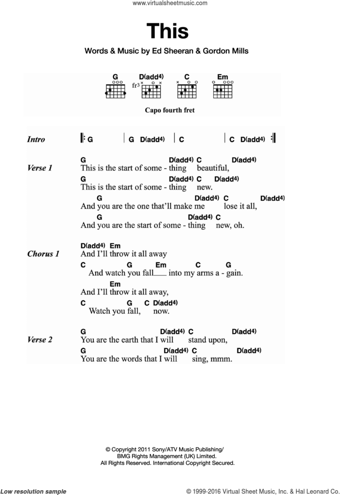 This sheet music for guitar (chords) by Ed Sheeran and Gordon Mills, intermediate skill level
