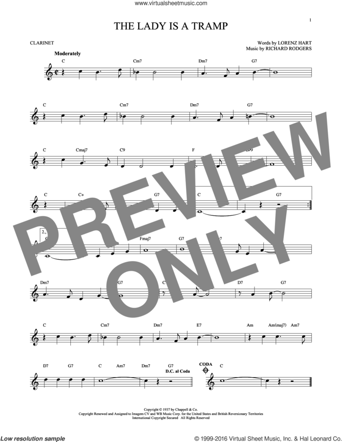 The Lady Is A Tramp sheet music for clarinet solo by Rodgers & Hart, Lorenz Hart and Richard Rodgers, intermediate skill level