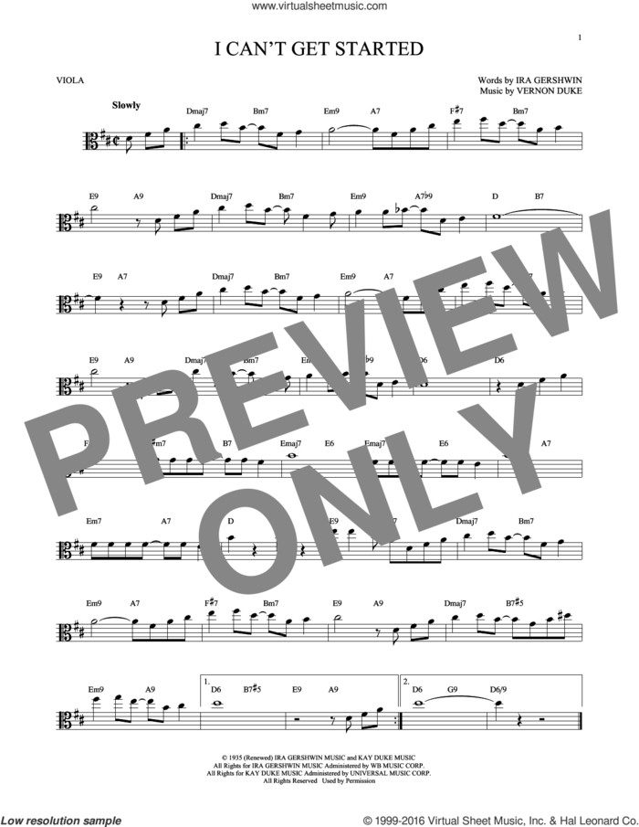 I Can't Get Started sheet music for viola solo by Ira Gershwin and Vernon Duke, intermediate skill level